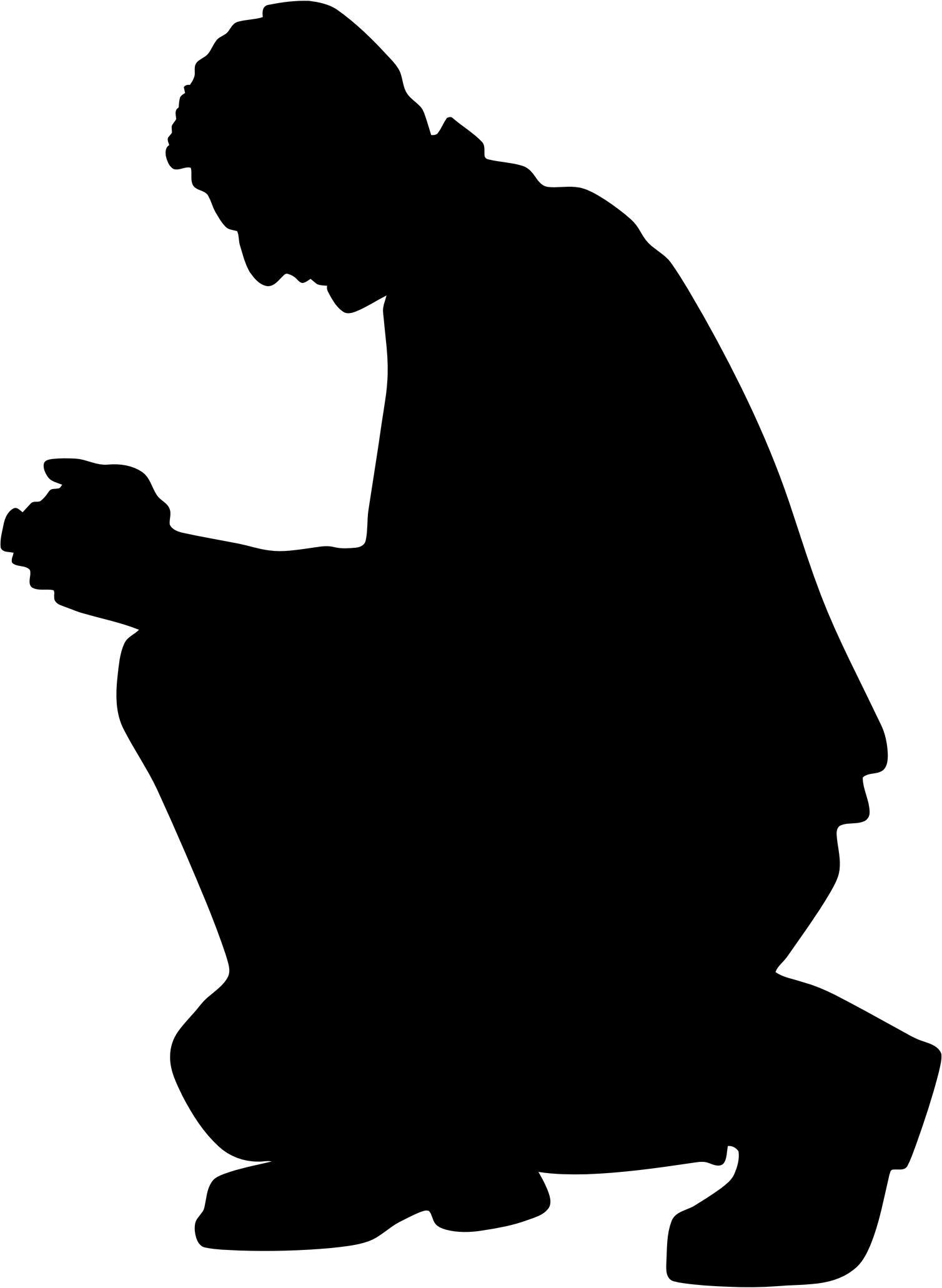 1508x2062 Kneeling Praying Man Silhouette Icons Png