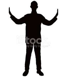 261x299 Silhouette Of Man Between Two Things Stock Vectors