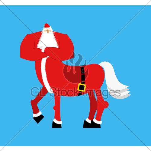 500x500 Santa Claus Centaur. Santa Monster. Half Man Half Horse. Gl