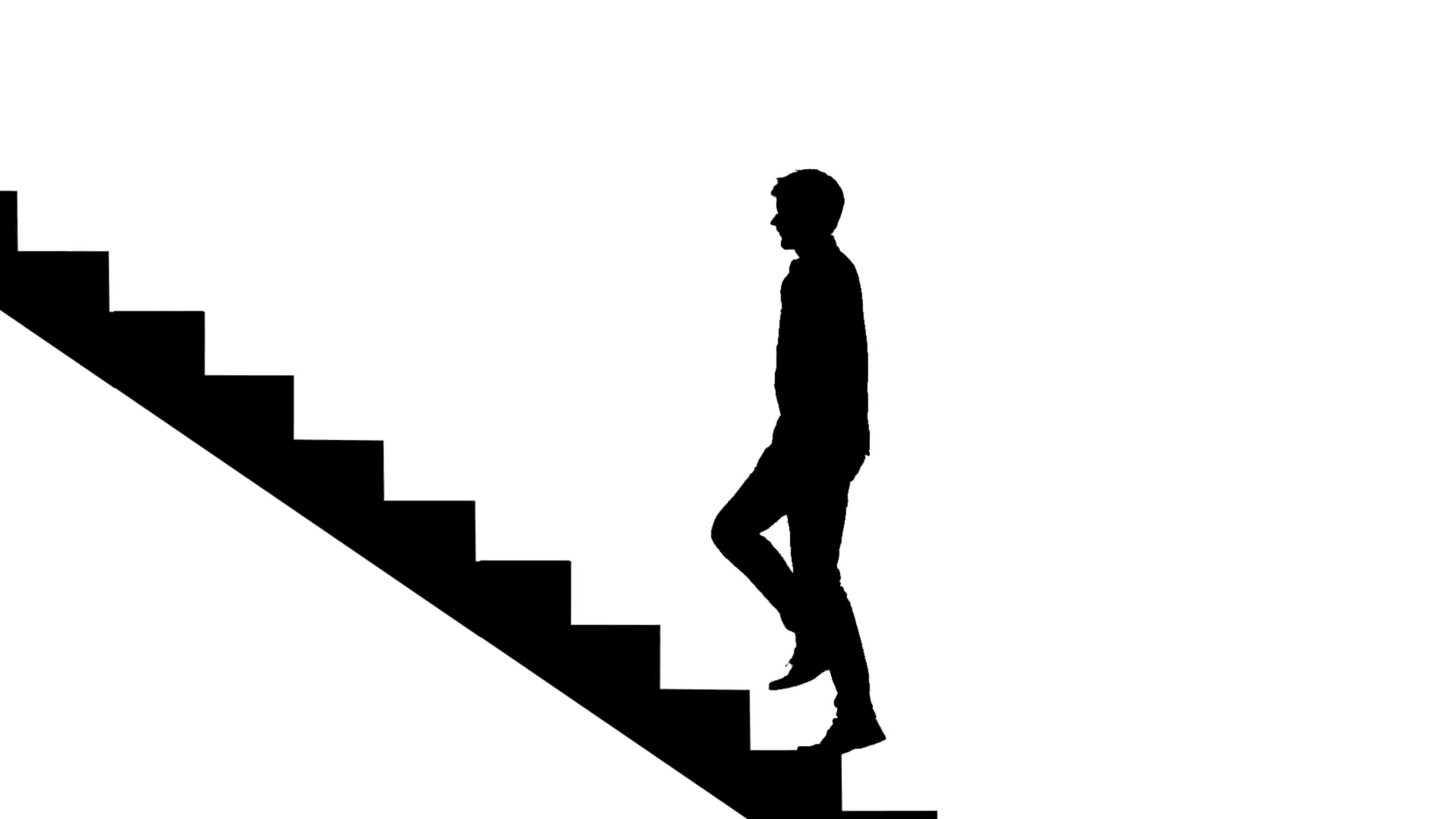 1920x1080 Silhouette Man Walking Stairs On White. Way To Success Loopable