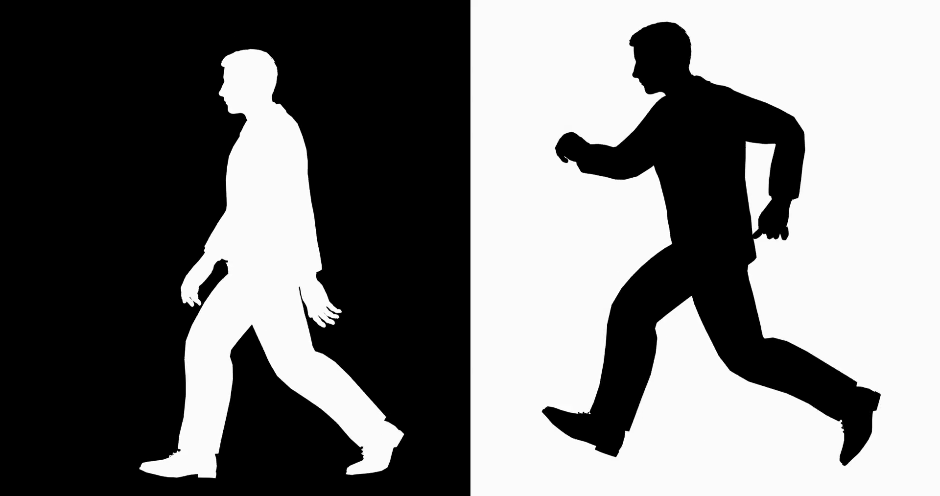 1920x1013 Male Silhouette Walking And Run Loop. A Man Walking And Running
