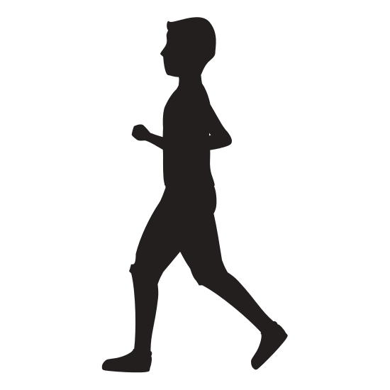 550x550 Athletic Man Running Character Icon Silhouette Vector Illustration