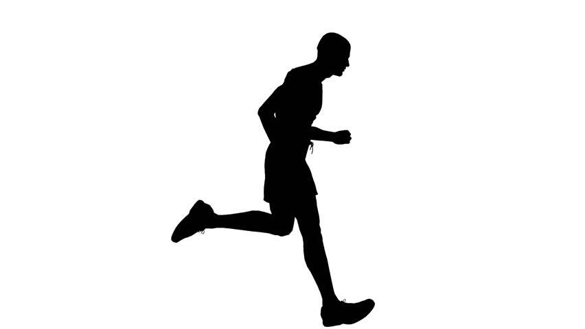852x480 Silhouette Of A Man Running Vector Image