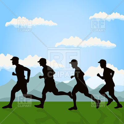 400x400 Silhouettes Of Running Men On Nature Background Royalty Free