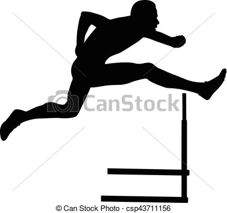450x422 Sprinter Runner Men Running Hurdles Black Silhouette Clipart