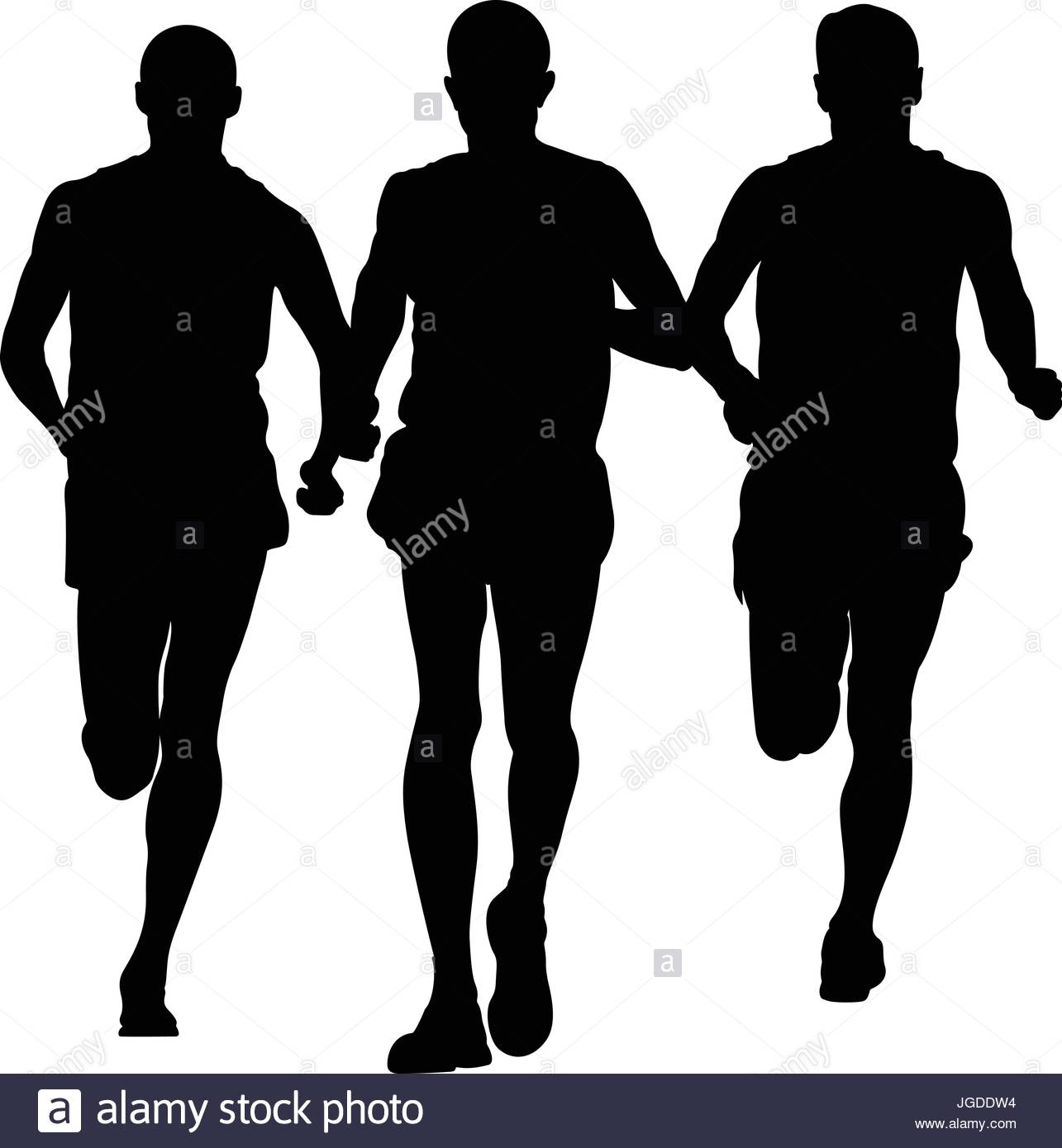 1285x1390 Group Of Runners Men Running Together Black Silhouette Stock