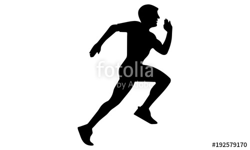 500x300 The Silhouette Of A Man Running Fast. Stock Image And Royalty