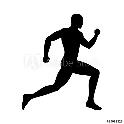 500x500 Man Running Sprinting Silhouette Flat Icon For Exercise Apps