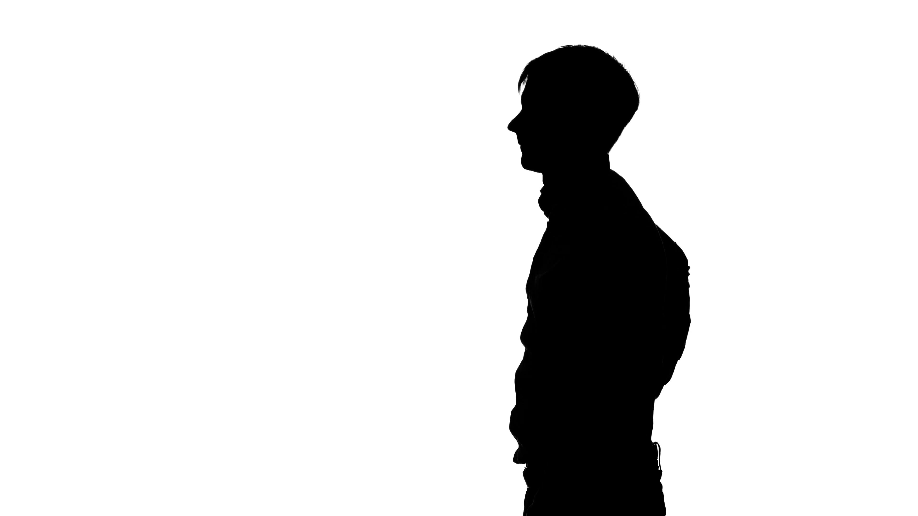 3840x2160 Man Shoots A Gun. Silhouette. White Stock Video Footage