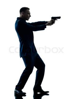 239x320 One Caucasian Man Holding Gun Portrait Silhouette In Studio