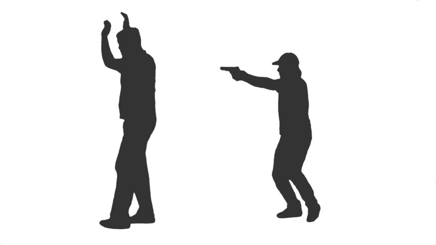 852x480 Silhouette Of A Young Male With A Gun Walking Amp Shooting. Side