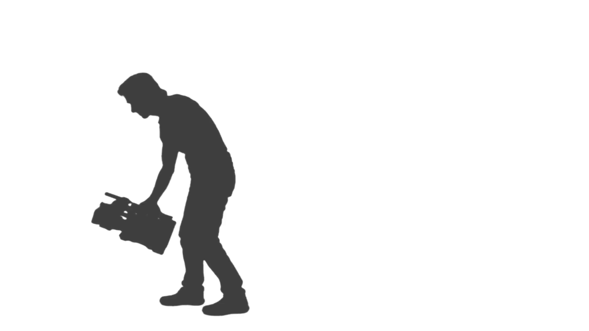 1920x1080 Silhouette Of Cameraman Walking With Camera And Shooting A Film
