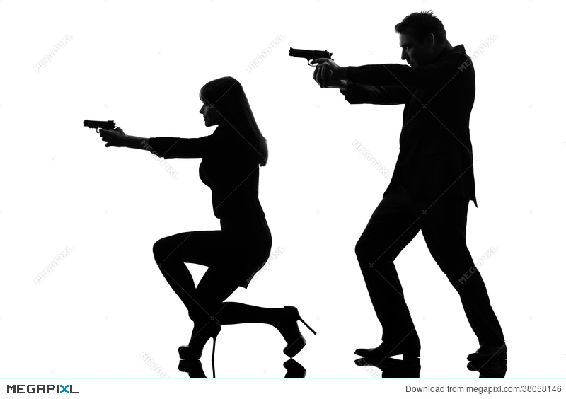 800x564 Couple Woman Man Detective Secret Agent Criminal Silhouette Stock