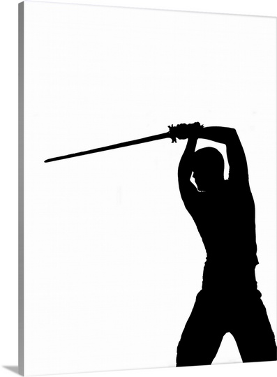 397x540 The Silhouette Of A Man Lifting A Sword Sweden Wall Art, Canvas