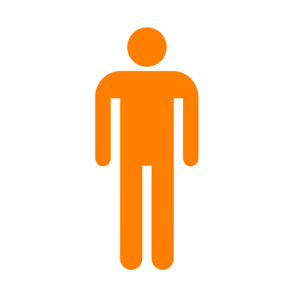 600x600 Man Silhouette Without Border Orange Clip Art