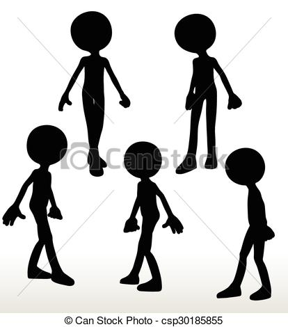 414x470 3d Man Silhouette, Isolated On White Background, Walking Clipart