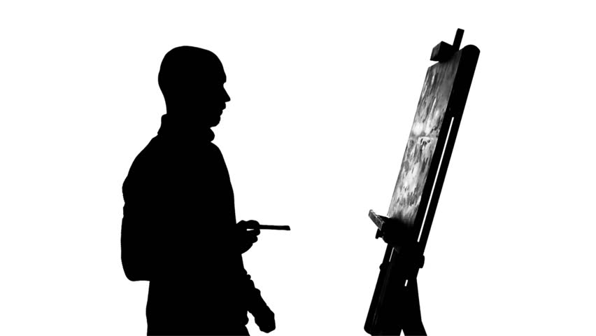 852x480 Bearded, Bald, Talanted Painter Drawing A Painting By Oil Paints