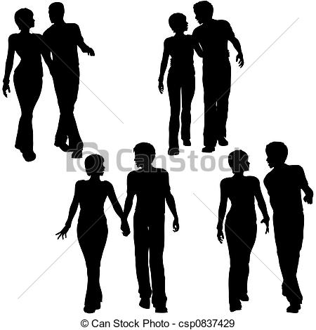 450x470 Man Woman Couple Walk Silhouettes. Collection Of 4 Stock