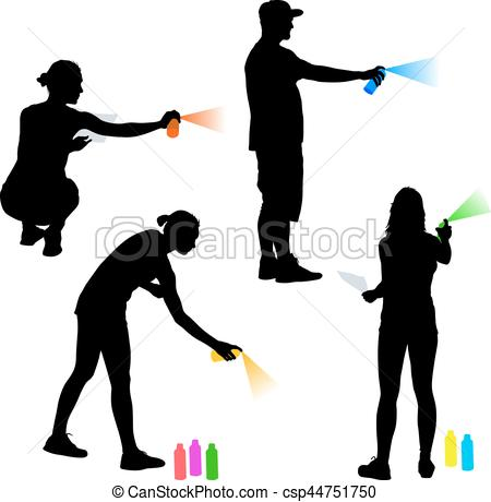 450x460 Set Silhouette Man And Woman Holding A Spray On A White Clipart