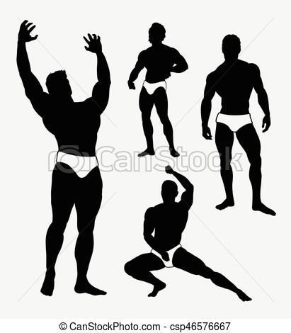 411x470 Strong Man Sport Pose Silhouette. Good Use For Symbol, Web Clip