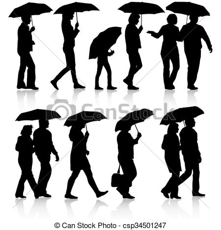 450x470 Black Silhouettes Man And Woman Under Umbrella. Vector Eps