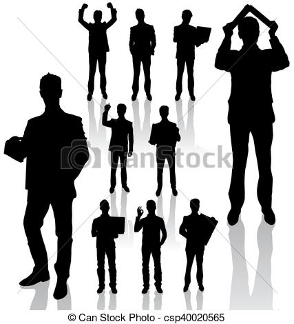 427x470 Business Man Silhouettes New. Vector Silhouettes Of Business