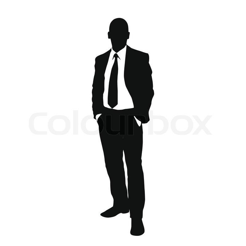800x800 Vector Business Man Black Silhouette Standing Full Length Over