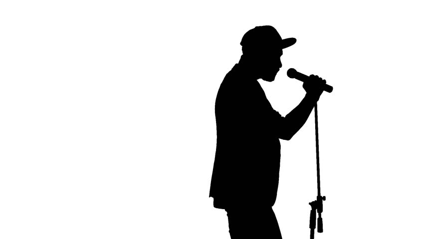 852x480 Black Silhouette Of Guy In Cap Singing Song And Vigorously Moving