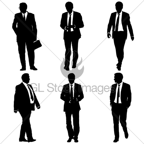 500x500 Set Silhouette Businessman Man In Suit With Tie On A Whit Gl