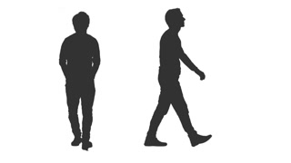 320x180 Silhouette Of Walking Man On Transparent Background, 2 In 1, Alpha