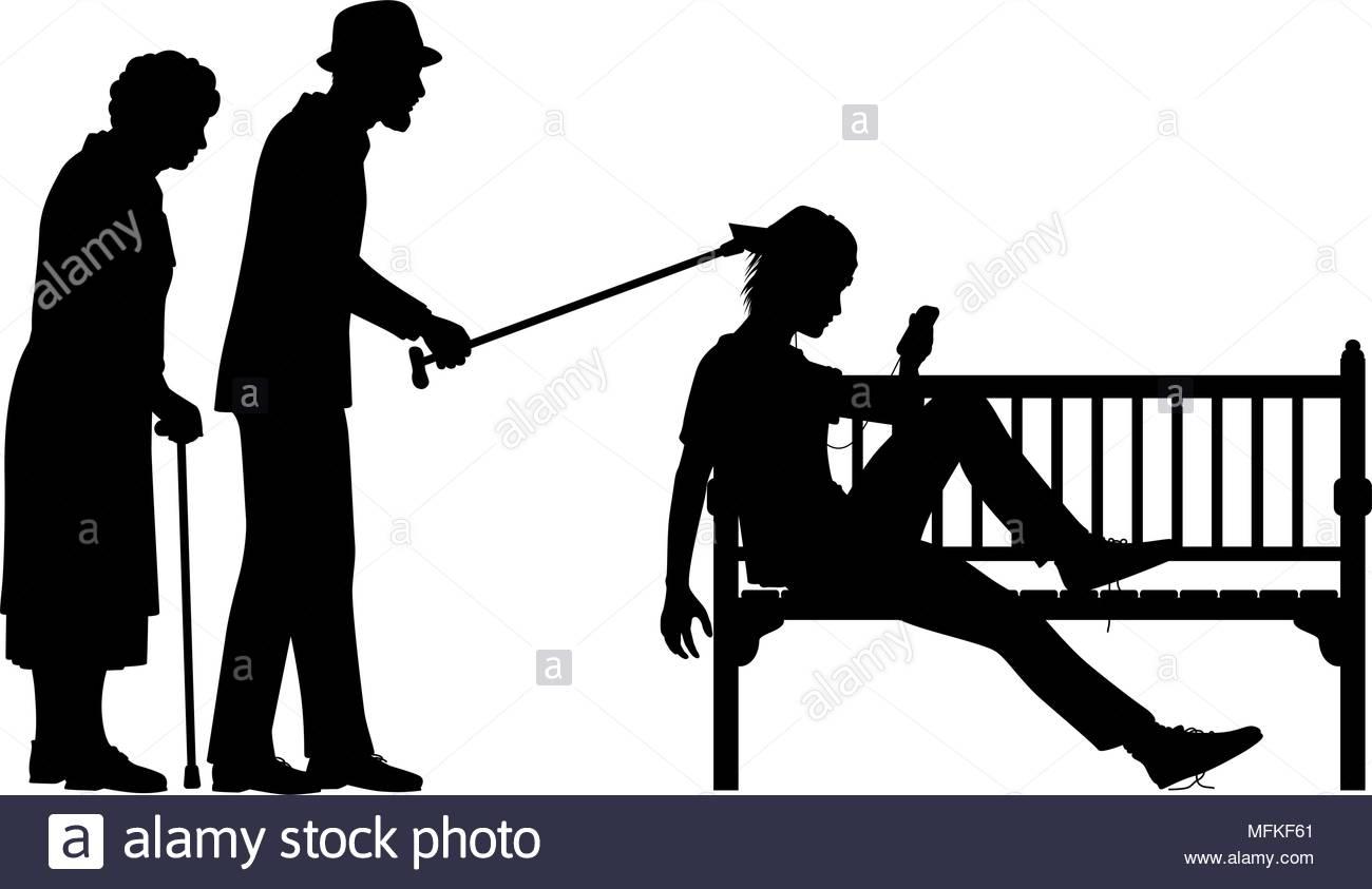 1300x843 Editable Vector Silhouette Illustration Of An Elderly Couple