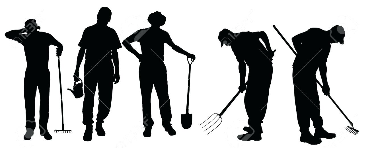 1300x520 Gardening Silhouette Vector Silhouette Of A Man With Garden Tools