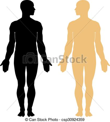 421x470 Man Body Silhouette. Man Body Vector Silhouette. Eps 10 Clipart