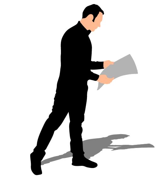 500x571 Man Reading Newspaper Vector Silhouette