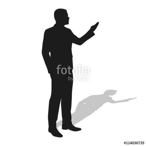 500x500 Businessman Presentation. Vector Silhouette. Standing Business M
