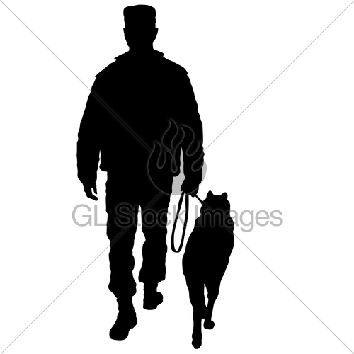 500x500 Silhouette Of Man And Dog On A White Background Gl Stock Images
