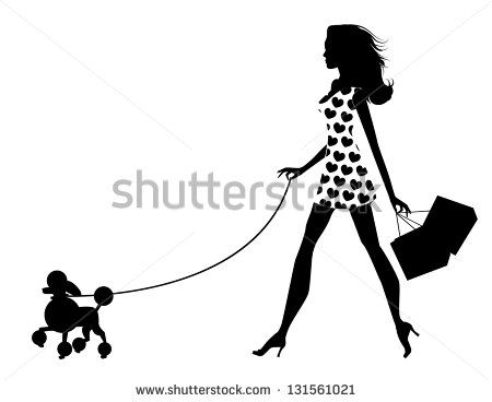 450x368 Woman Walking Dog Silhouette. Eps 8 Vector, Grouped For Easy