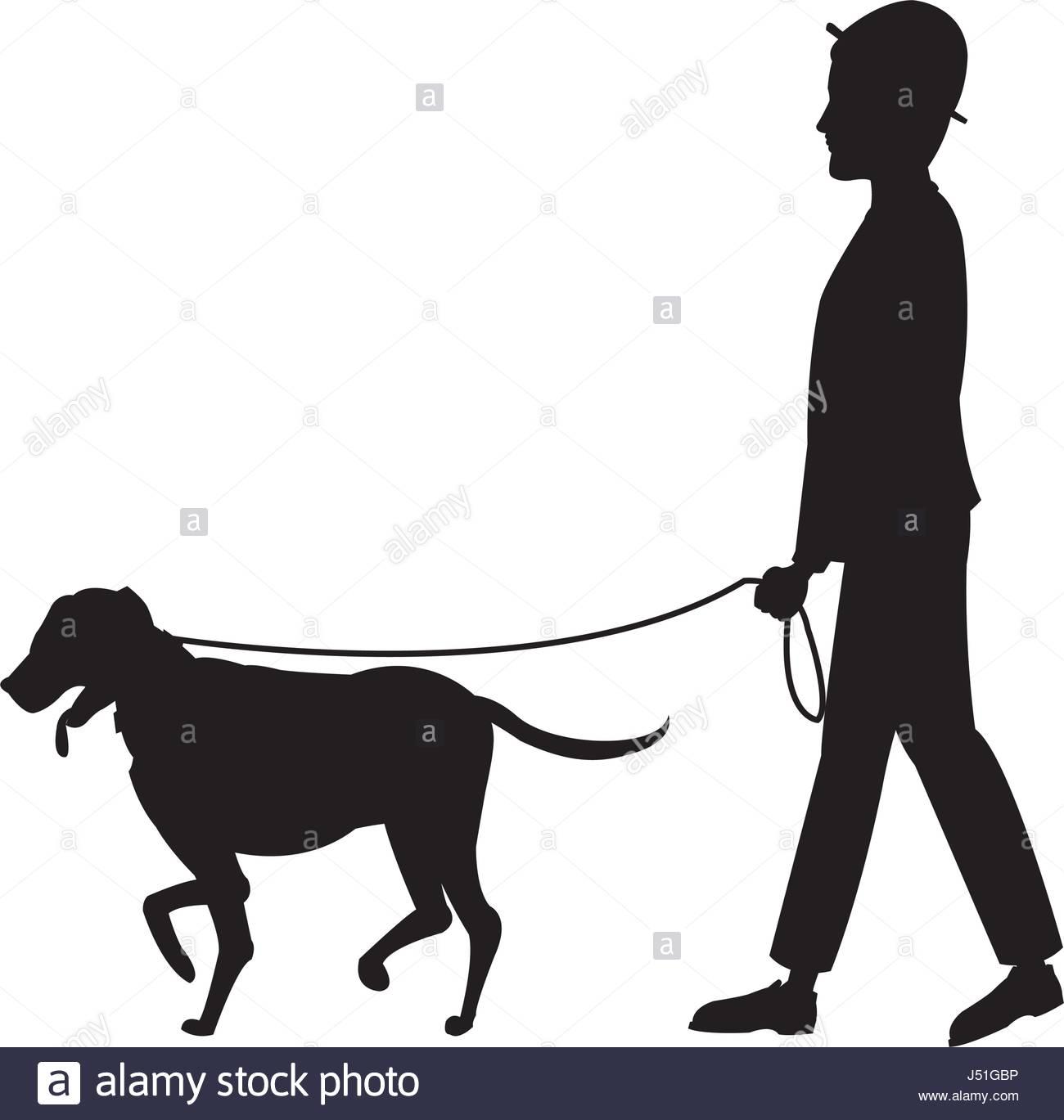1300x1369 Pictogram Man Hat Walking With Dog Pet Stock Vector Art