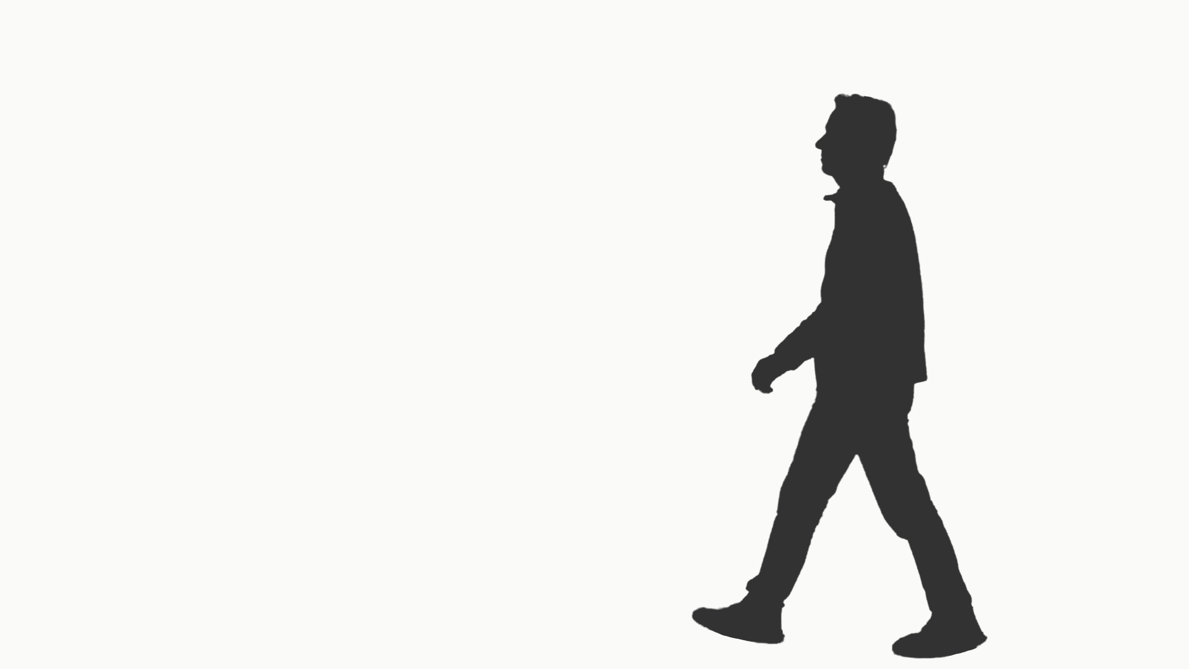 3840x2160 Silhouette Of A Man Walking On Transparent Background, Alpha