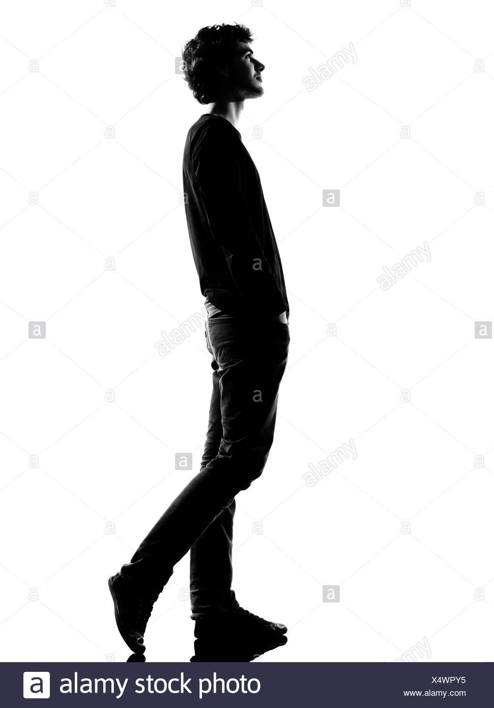 971x1390 Walking Man Silhouette Side View Black And White Stock Photos