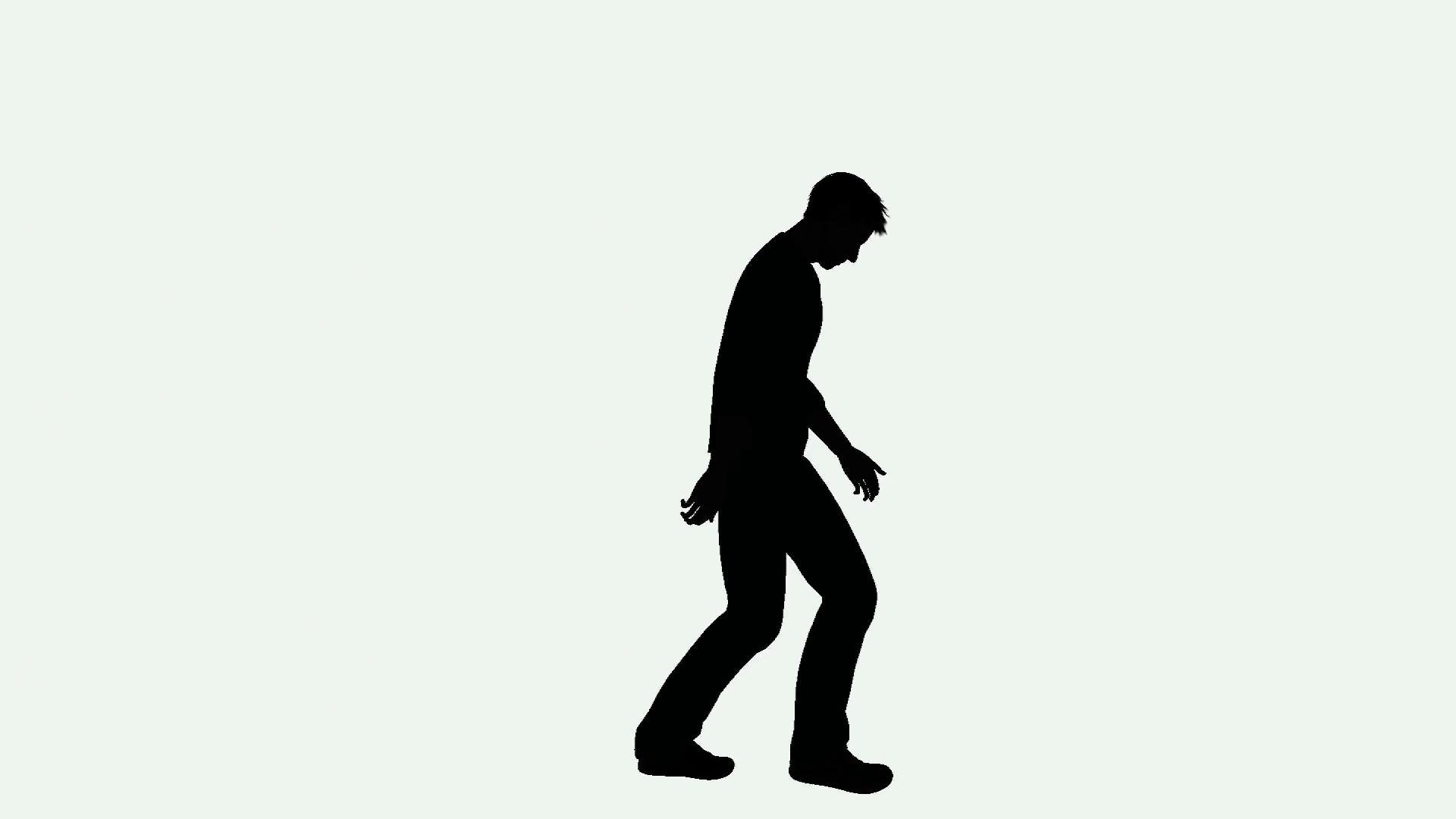 1920x1080 Depressed Man Walking Silhouette Motion Background