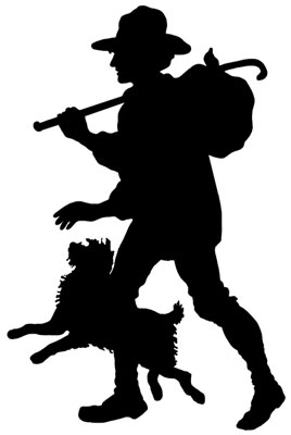 268x400 Silhouette Of A Man Walking With A Dog