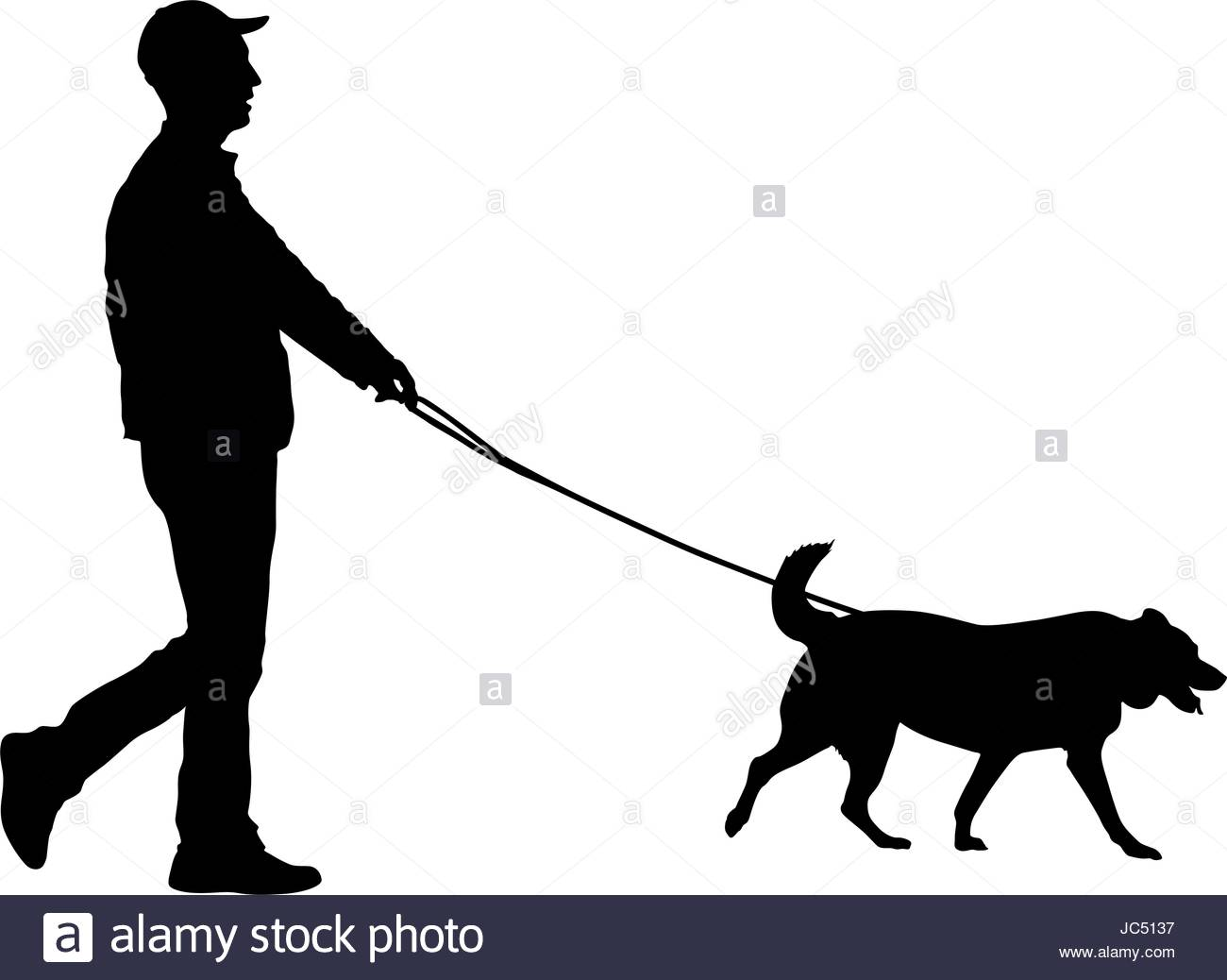 1300x1038 Silhouette Of Man And Dog On A White Background Stock Vector Art