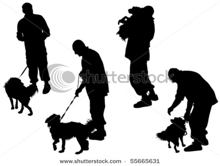 450x339 Vector Images Of A Man With A Dog On A Leash