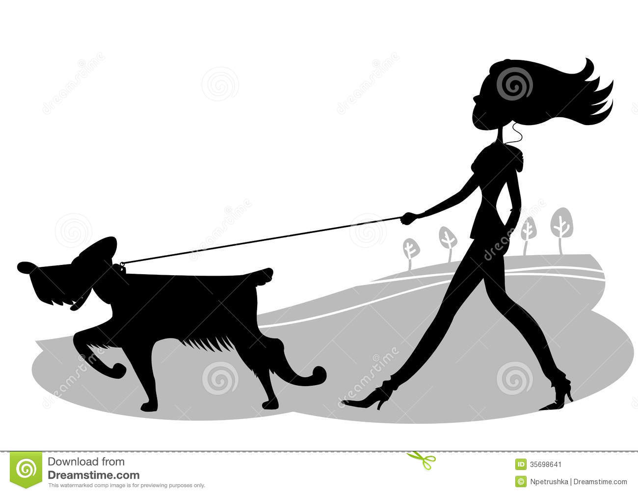1300x1009 Lady Walking Dog Silhouette Clipart