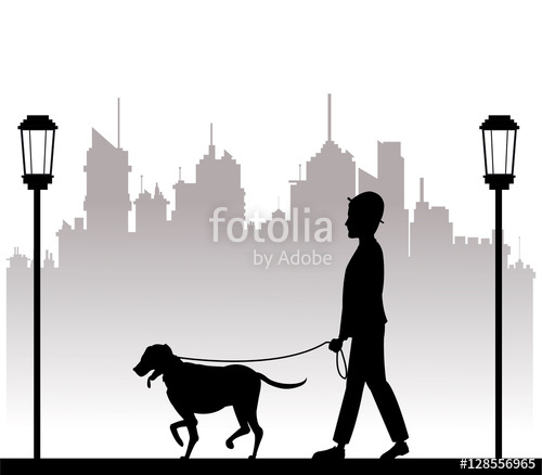 500x438 Silhouette Man With Dog Walking Park City Background Vector