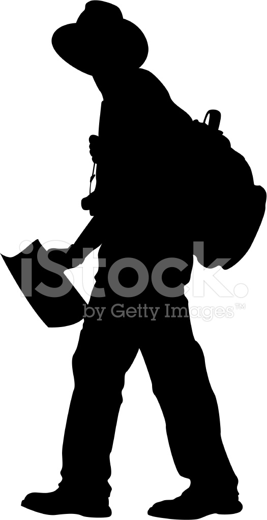 525x1024 Man Walking With Hat, Bag Amp Map Stock Vector