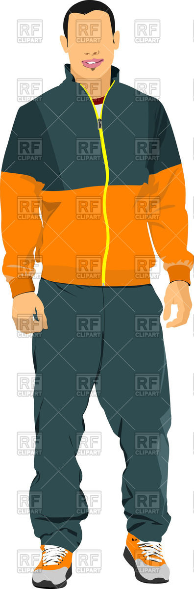 396x1200 Silhouette Of Man In Sport Suit Royalty Free Vector Clip Art Image