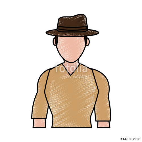 500x500 Color Pencil Silhouette Half Body Faceless Explorer Man With Hat