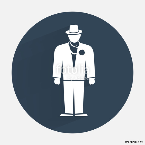 500x500 Businessman Icon. Mafia Gangster Silhouette Symbol. Standing Men